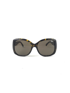 CHANEL Tortoise Square Sunglasses w/ CC Logo