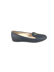 PRADA Black Glitter Loafers GHW