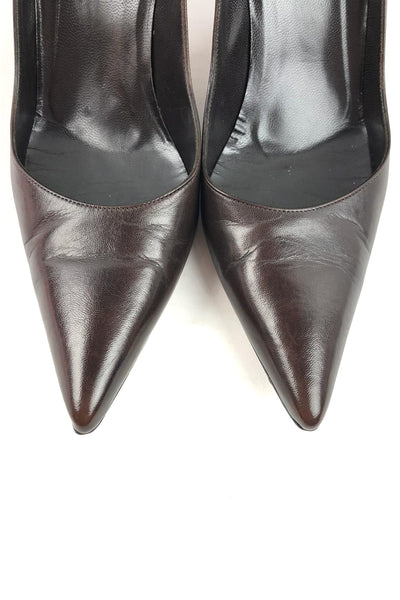 GUCCI Brown Leather Pointed Toe Pumps w/ Bamboo Detail