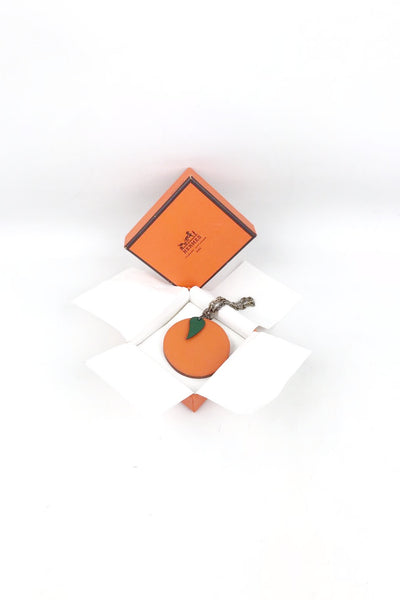 HERMES Orange Leather Charm