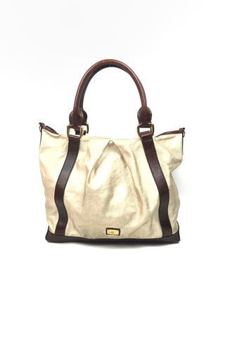 BURBERRY Gold Canvas w/ Brown Leather Handles and Accent