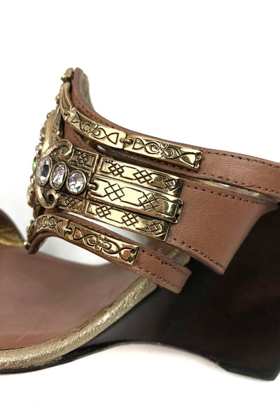GIUSEPPI ZANOTTI Brown Leather Wedges w/ Crystal Brooch Detail