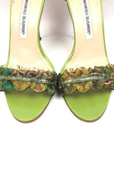 MANOLO BLAHNIK Green Snakeskin/Peacock Feather Heeled Sandals