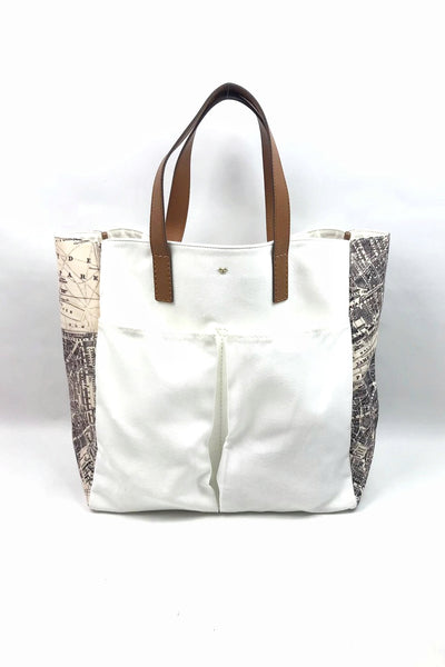 ANYA HINDMARCH White/Map Accent Siding Shopping Tote