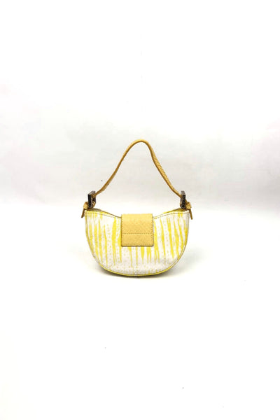 FENDI Mini Baguette Yellow/White Snakeskin