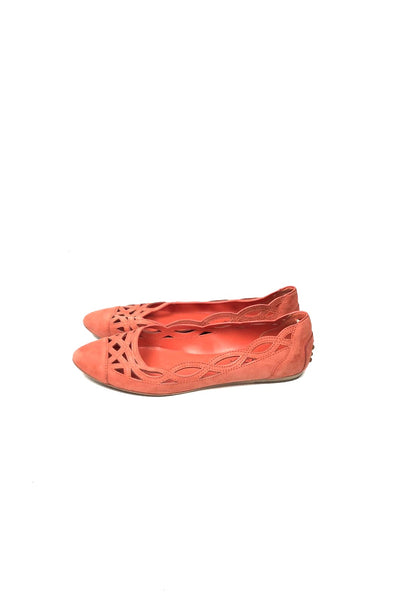 TOD'S Coral Weaved Suede Ballet Flats