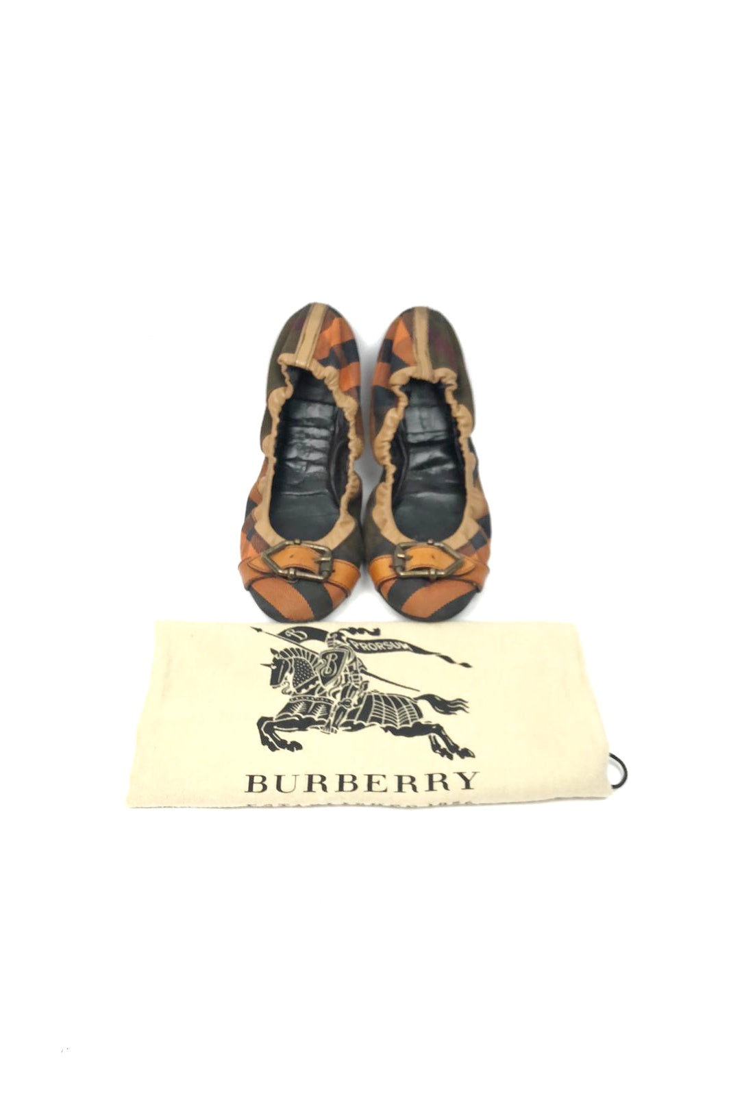 BURBERRY Brown/Orange Canvas Ballet Flats AGHW