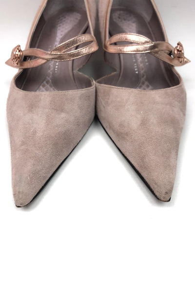 ANYA HINDMARCH Pointed Toe Lavender Suede Low Heel Pump w/ Flower Detail Closure