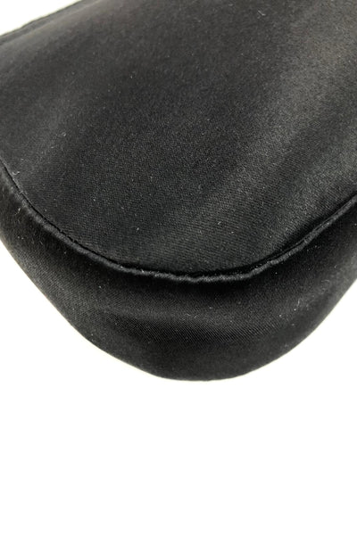 CHRISTIAN DIOR Black Satin Clutch w/ SHW Closure