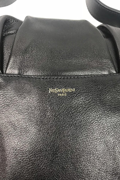 YSL Black Grained Bowtie Small Tote GHW