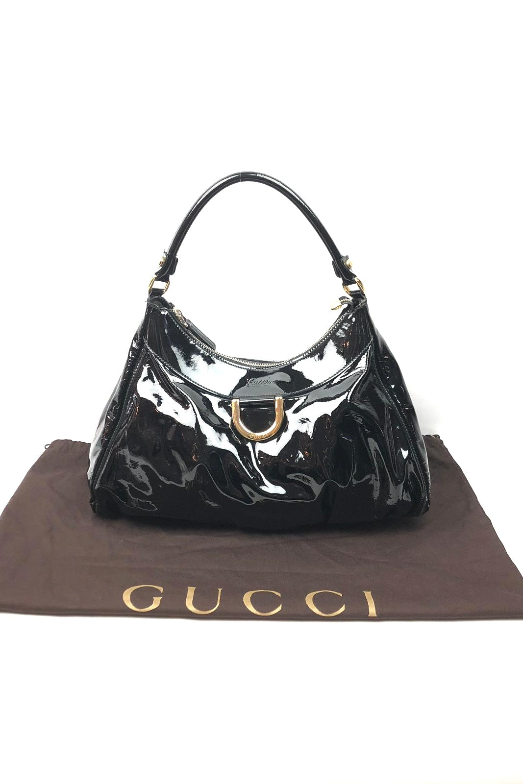 GUCCI Black Patent Leather D Ring Hobo Bag