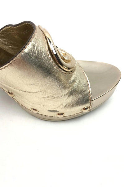 GUCCI Metallic Gold Leather Interlocking GG Clogs GHW