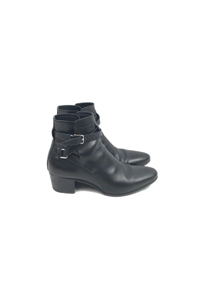SAINT LAURENT Black Smooth Leather Ankle Boots SHW Buckles