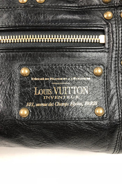 LOUIS VUITTON Limited Edition Black Lambskin Riveting Small Shoulder Bag
