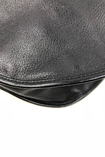 CHRISTIAN DIOR Black Calfskin Shoulder Bag w/ Metallic Round Handles