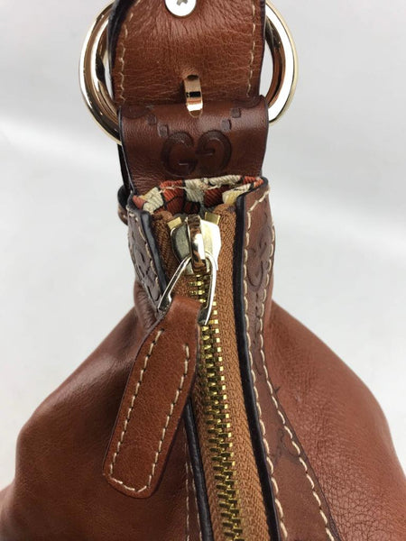 GUCCI Brown Leather Signora Medium Hobo Bag GHW