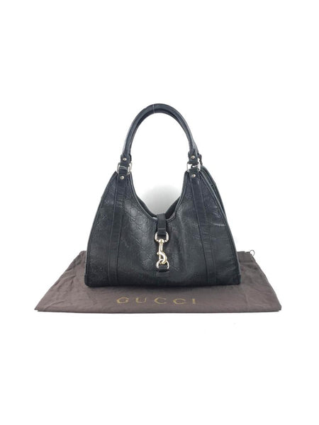 GUCCI Black Leather Guccissima Jackie Hobo Bag GHW