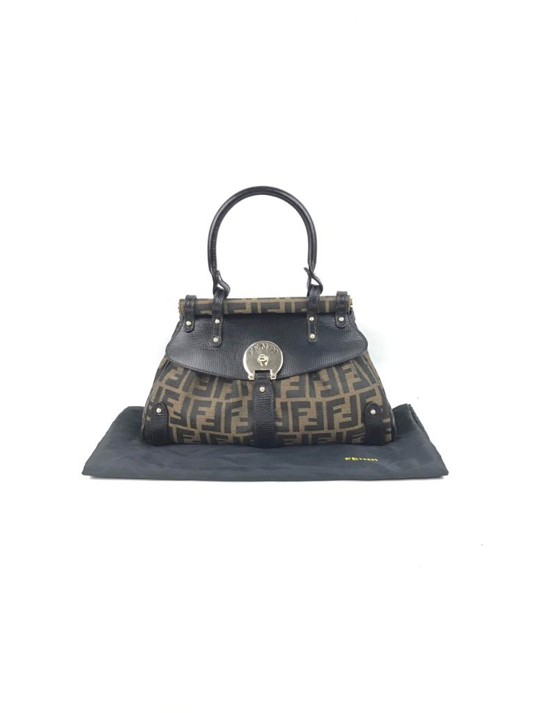 FENDI Zucca Print Canvas w/ Black Leather Accents Top Handle Bag GHW