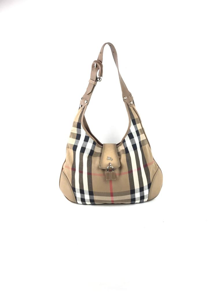 Burberry beige nova check canvas Brook hobo bag w/ tan leather trim SHW