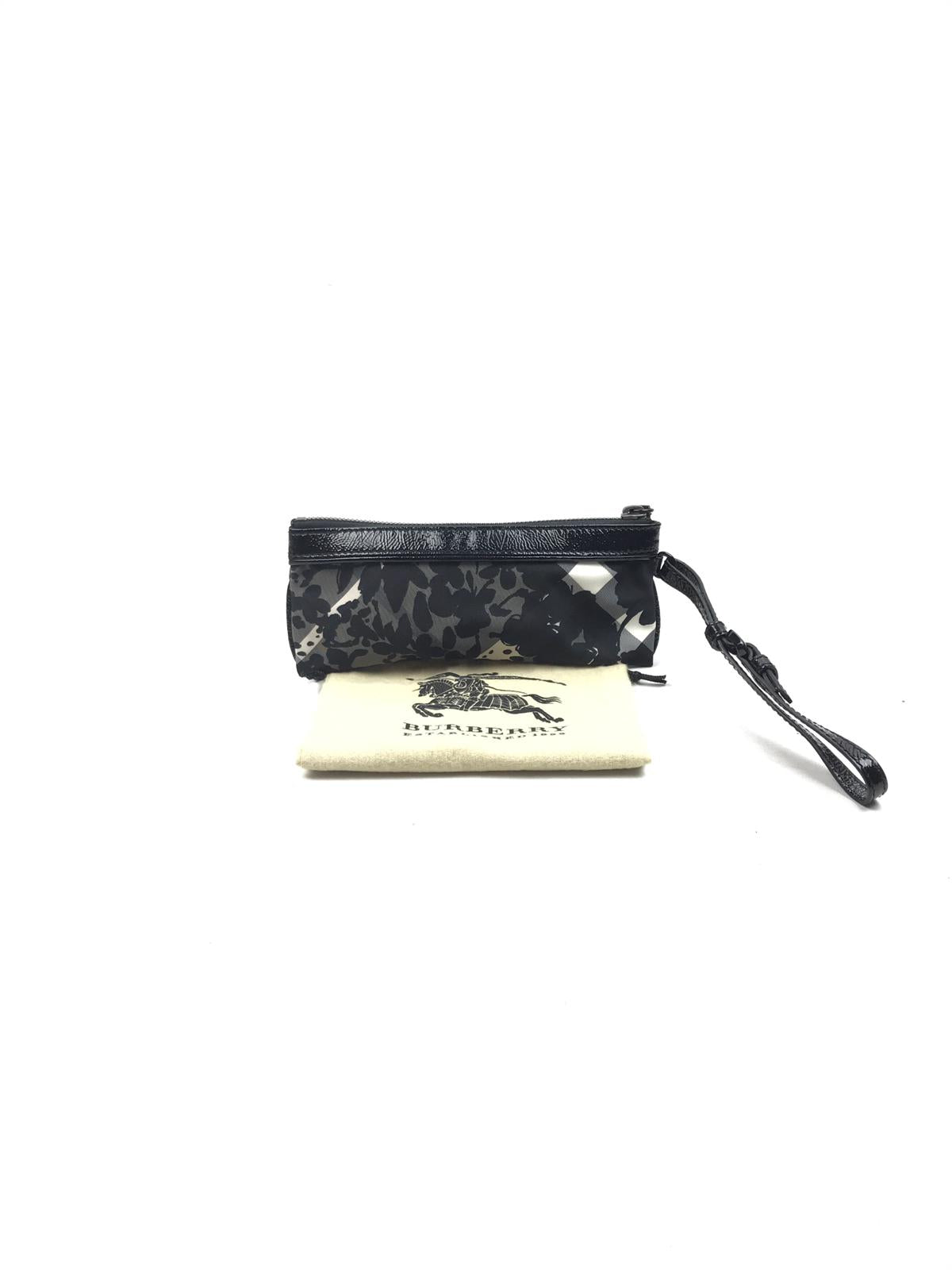 BURBERRY Black/Grey Check Wristlet w/ Patent Leather Trim