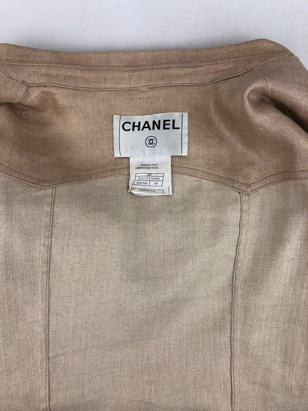 CHANEL Shimmery Light Gold Linen Jacket