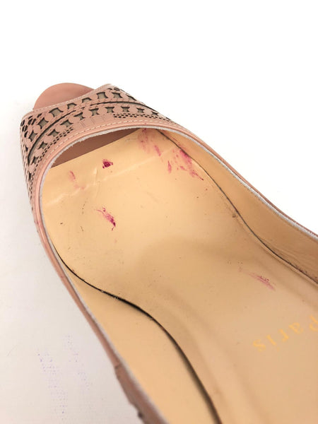Christian Louboutin beige cutout peep-toe pumps
