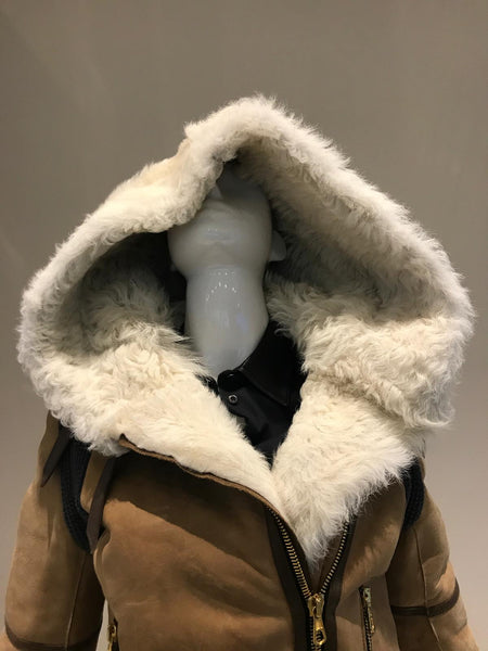 RAG AND BONE Camel Shearling Hooded Jacket