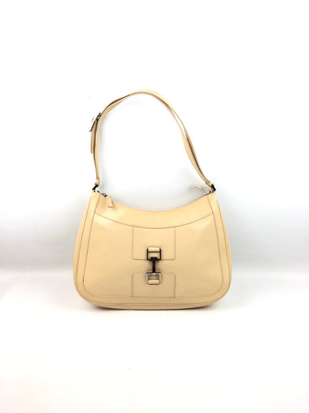 GUCCI Beige Patent Leather Vintage Shoulder Bag SHW
