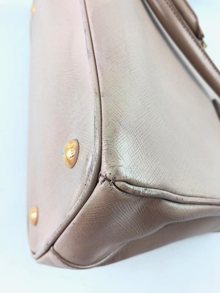 PRADA Nude Saffiano Leather Small Promenade Bag GHW w/ Crossbody Strap