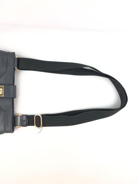SALVATORE FERRAGAMO Grey Smooth Leather Messenger/Crossbody Bag GHW w/ Adjustable Strap