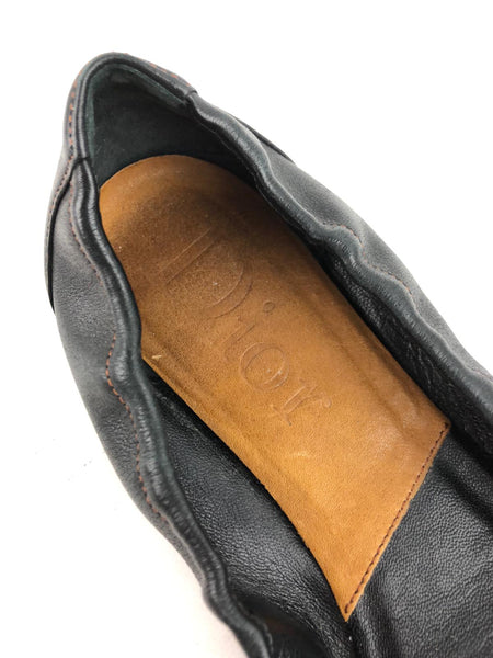 CHRISTIAN DIOR Black Grained Leather Ballet Flats w/ SHW Buckle