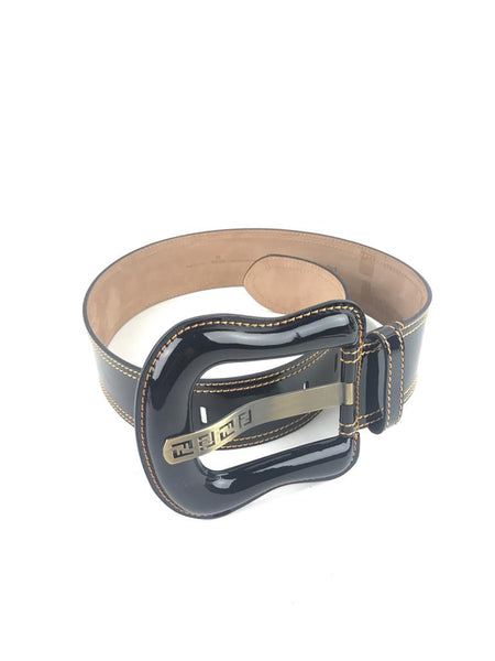 FENDI Black Patent Leather Wide GHW Belt