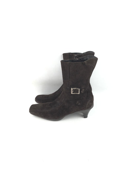 PRADA Brown Suede Kitten Heel Ankle Boots