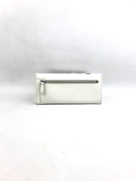 PRADA White Smooth Leather Continental Wallet w/ Red Flower Detail