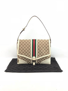 GUCCI Monogram Canvas w/ White Leather Trim Web Shoulder Bag