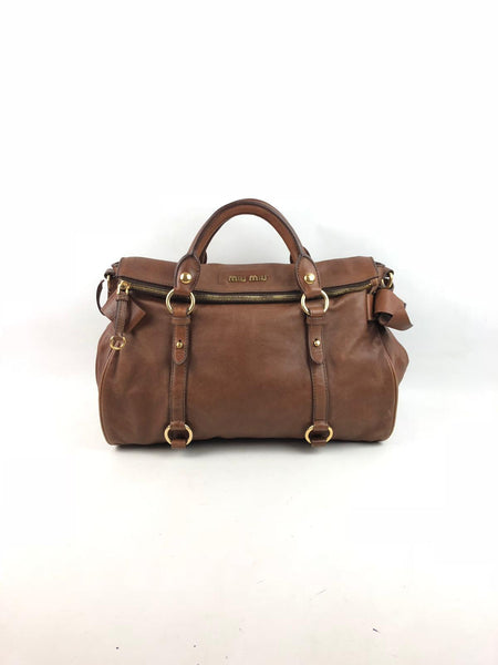 MIU MIU Lux Vitello Smooth Leather Brown Bow Satchel