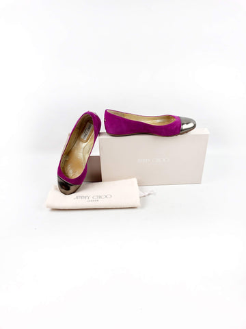 JIMMY CHOO Purple Suede/Metallic Silver Leather Whirl Cap-Toe Flats