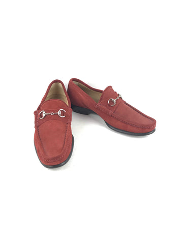 GUCCI Red Suede Loafers