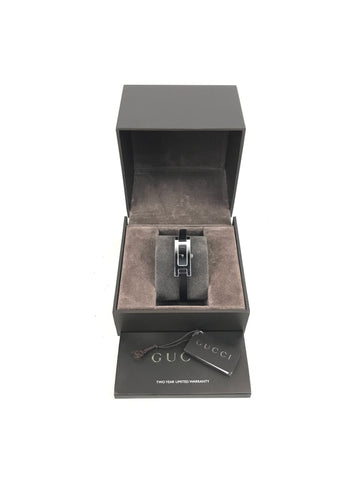 GUCCI 3900L black leather thin watch