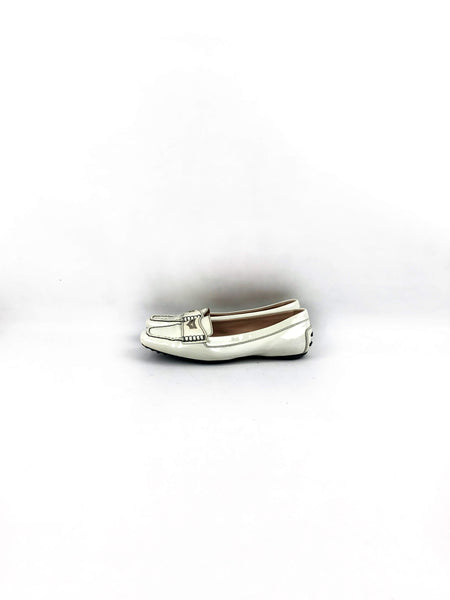 TOD'S Off White Patent Leather Loafers