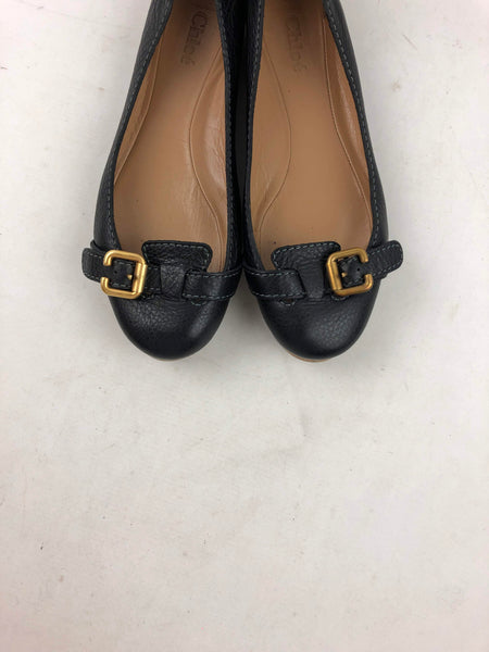 CHLOE Black Pebbled Leather Prince Buckle