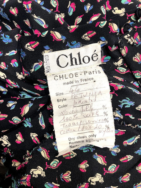 CHLOE Petunia Painted Woven Silk Dress
