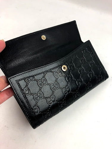 GUCCI Black  Embossed Leather Continental Wallet