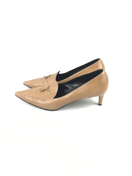 GUCCI Nude Pointed Toe Kitten Heel Pumps