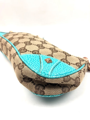 GUCCI GG Light Brown Canvas Chain Link Nailhead Pochette w/ Teal Leather Trim