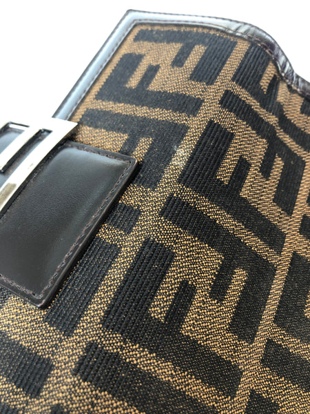 FENDI Zucca Monogram Canvas Continental Wallet w/ FF Logo Buckle Detail