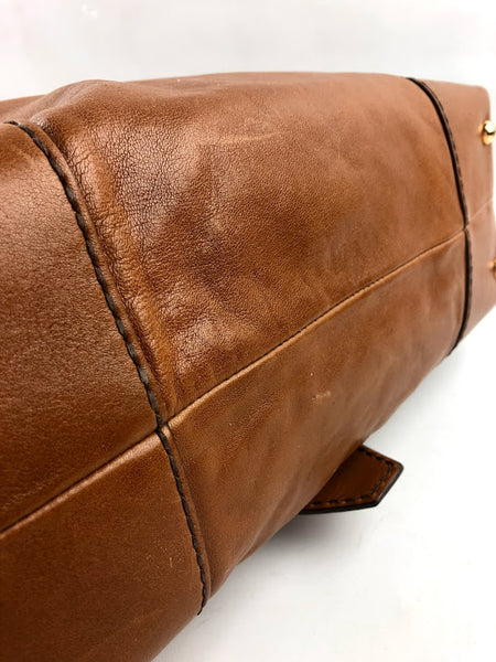 TOD'S Light Brown Leather Shoulder W/Buckle Detail