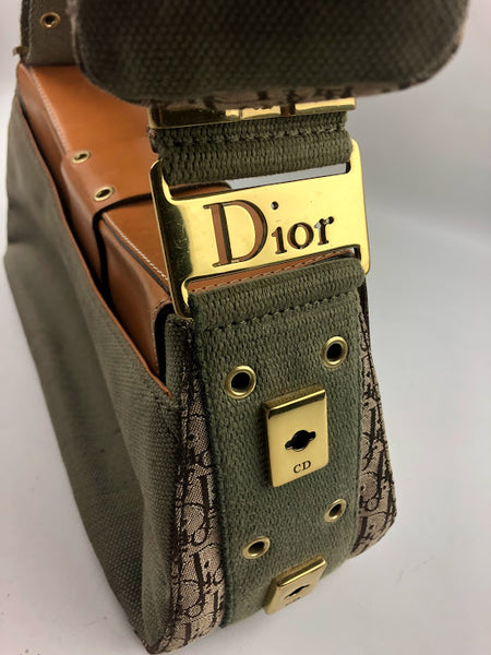 CHRISTIAN DIOR Light Green Fabric Street Chic Columbus Avenue Shoulder Bag W/Light Brown Smooth Leather Trim