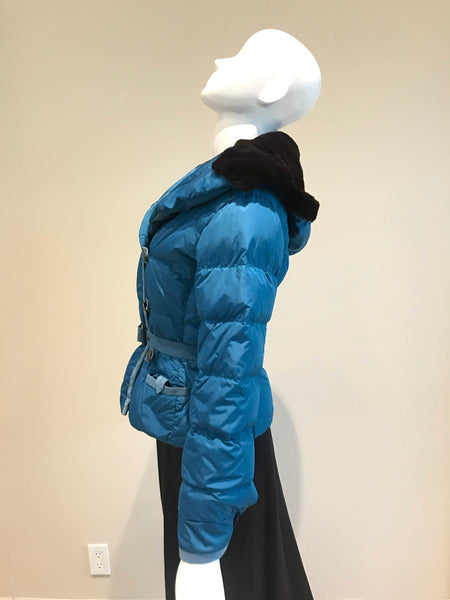 LOUIS VUITTON Teal Goose Down Mink Fur Jacket