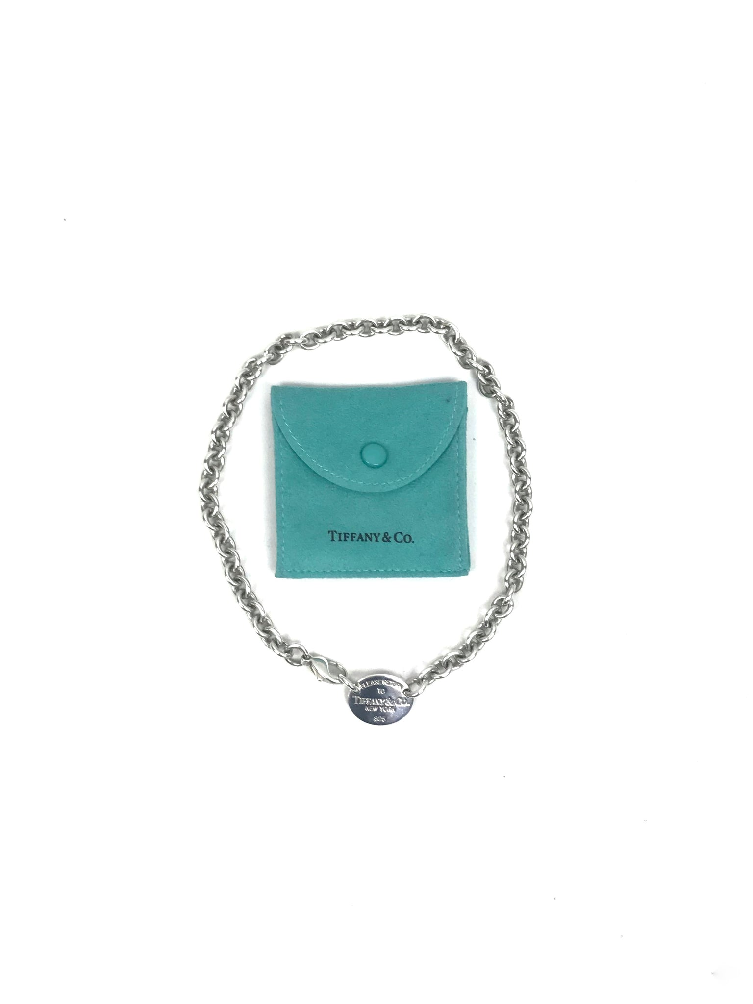 Tiffany and Co. sterling silver oval tag chain choker